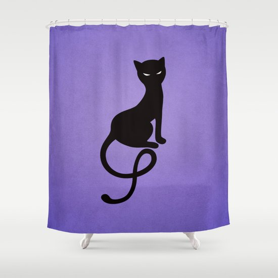 Gracious Evil Black Cat Shower Curtain