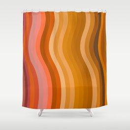 Groovy Wavy Lines in Retro 70s Colors Shower Curtain