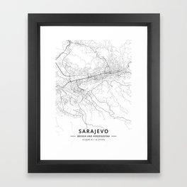Sarajevo, Bosnia and Herzegovina - Light Map Framed Art Print
