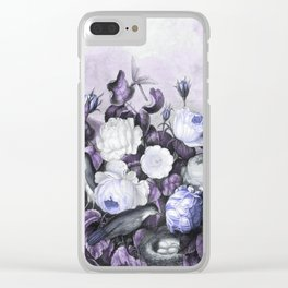 Periwinkle Roses Gray Birds Temple of Flora Clear iPhone Case