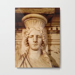 Classical Lady Stone Sepia Metal Print