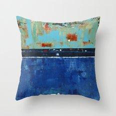Dress Blues Blue Abstract Landscape Modern Throw Pillow