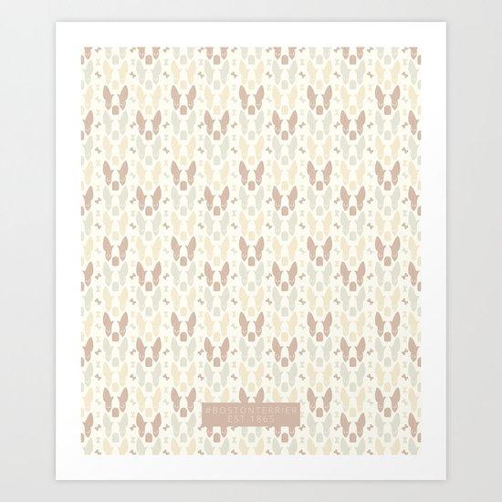 Boston Terrier Wood Pattern Art Print