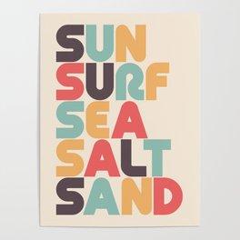 Retro Sun Surf Sea Salt Sand Typography Poster