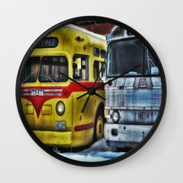 Old Buses 3 Wall Clock