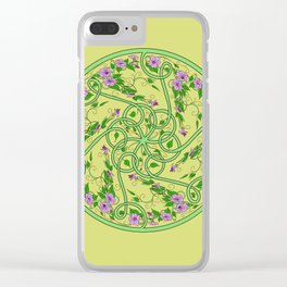 Green and Pink Celtic Swirl Flowers Clear iPhone Case