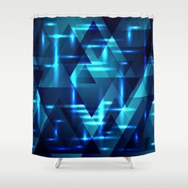 Ocean depths and blue intersections on a dark metal background. Shower Curtain