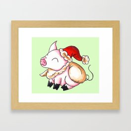 Santa Piggy Framed Art Print