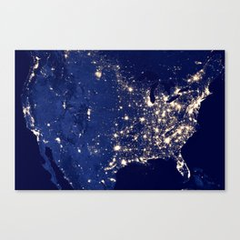 City Lights of the United States Canvas Print