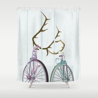 bicycles Shower Curtains featuring Bicycles in Love by Wyatt Design