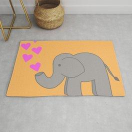 Orange Love Elephant Rug