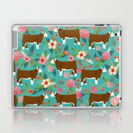 Hereford Cattle breed floral farm homestead gifts cow art florals Laptop & iPad Skin