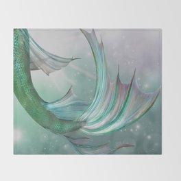 Mermaid, Ocean Sea, Pastel Purple,Teal, Green Throw Blanket