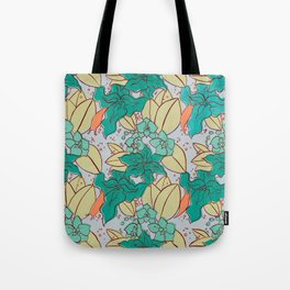 Green Lilies and Orchids Tote Bag