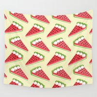 pie Wall Tapestries featuring Watermelon pie by Petits Pixels