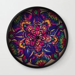 Dark Flower Mandala Wall Clock