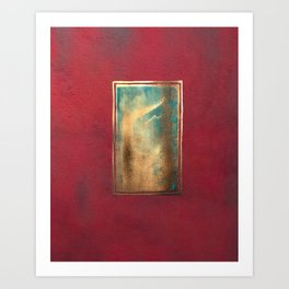 Deep Red, Gold, Turquoise Blue Art Print