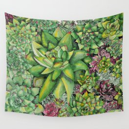 Watercolour Succulents Wall Tapestry