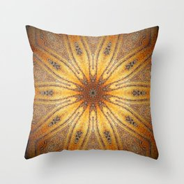 Bright Antique Gold Mandala Throw Pillow