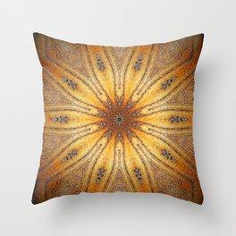 Bright Antique Gold Mandala Throw Pillow