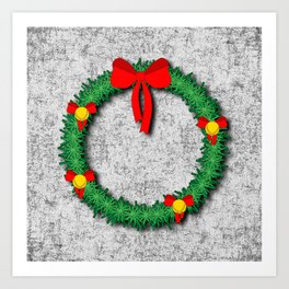 Christmas Wreath on textured background Art Print