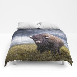 Plains Buffalo on the Prairie Comforters