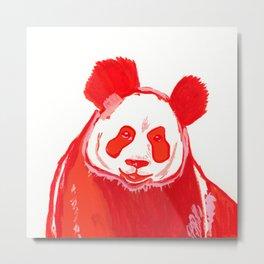 Smiling Red Panda Bear Gouache Illustration Metal Print