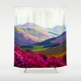 Beautiful Candy Land Fairytale Fantasy Landscape Purple pink Flowers Rolling Hills Moutains Shower Curtain