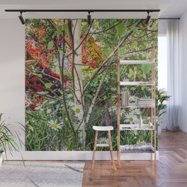 Rural landscape with a birch tree Wall Mural