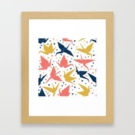 Japanese Origami paper cranes, symbol of happiness, luck and longevity, blue coral mustard Framed Art Print