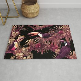 Toucans and Bromeliads - Dark Floral version Rug