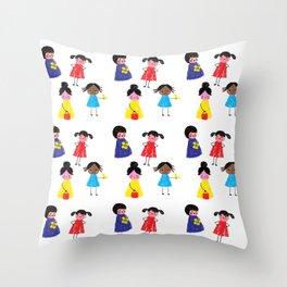 Little girls pattern Throw Pillow