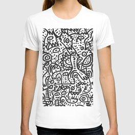 Hungry Monsters Street Art Graffiti Black and White  T-shirt