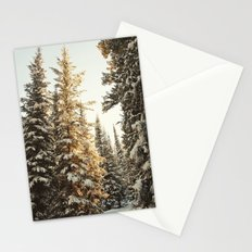 Snowy Pine Trees Glowing in Sunlight Stationery Cards
