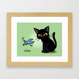 Talking with a bird Framed Art Print