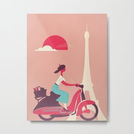 French girl on a Scooter Metal Print