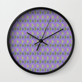 Geometrical purple green hand painted triangles pattern Wall Clock
