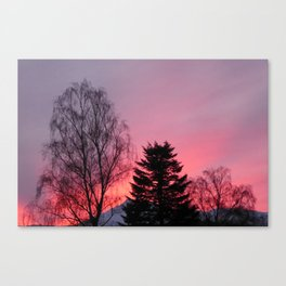 Sunset over snow capped Cumbrian Mountains Canvas Print