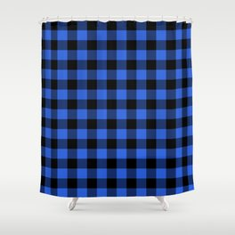 Royal Blue and Black Lumberjack Buffalo Plaid Fabric Shower Curtain