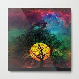 Rainbow moon galaxy Metal Print