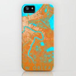 New Orleans, LA, USA, Gold, Blue, City, Map iPhone Case