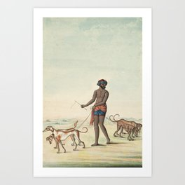 Dog Walker - 19th Century Classical Indian Art Art Print