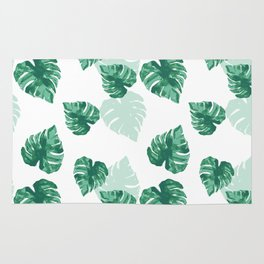 Tropical Palm Leaves Green Pattern Rug