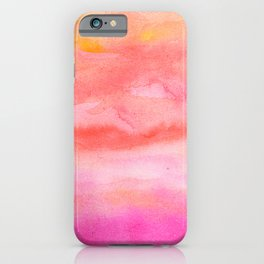 Bright pink orange sunset watercolor hand painted iPhone Case