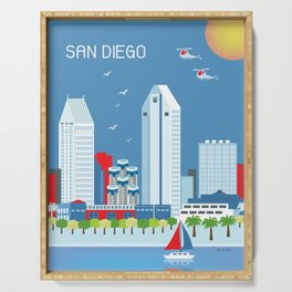 San Diego, California - Skyline Illustration by Loose Petals Serving Tray
