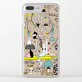 Magical Garden (Beige) Clear iPhone Case