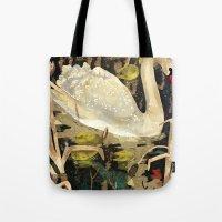 swan Tote Bags featuring Swan by Lara Paulussen