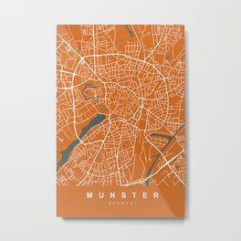 MUNSTER City Map - Germany | Orange | More Colors, Review My Collections Metal Print