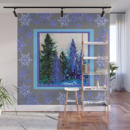 GREY WINTER SNOWFLAKE  CRYSTALS FOREST ART Wall Mural