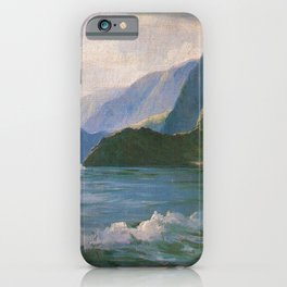 Under the Cliffs of Molokai, Hawaiian landscape painting by D. Howard Hitchcock iPhone Case